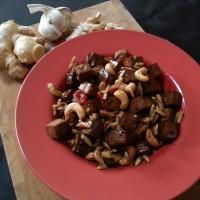 Chilli nuts and marinated tofu