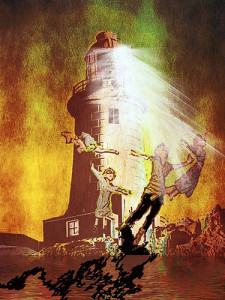 Image of lighthouse and children